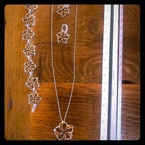 Na Hoku Plumeria Koa wood jewelry set